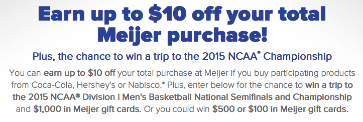Coca Cola Win A Trip To Indianapolis, IN 2015 and $1,000 Meijer Gift