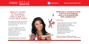 Colgate Optic White – Win A Trip To Los Angeles With Jeannie Mai Sweepstakes