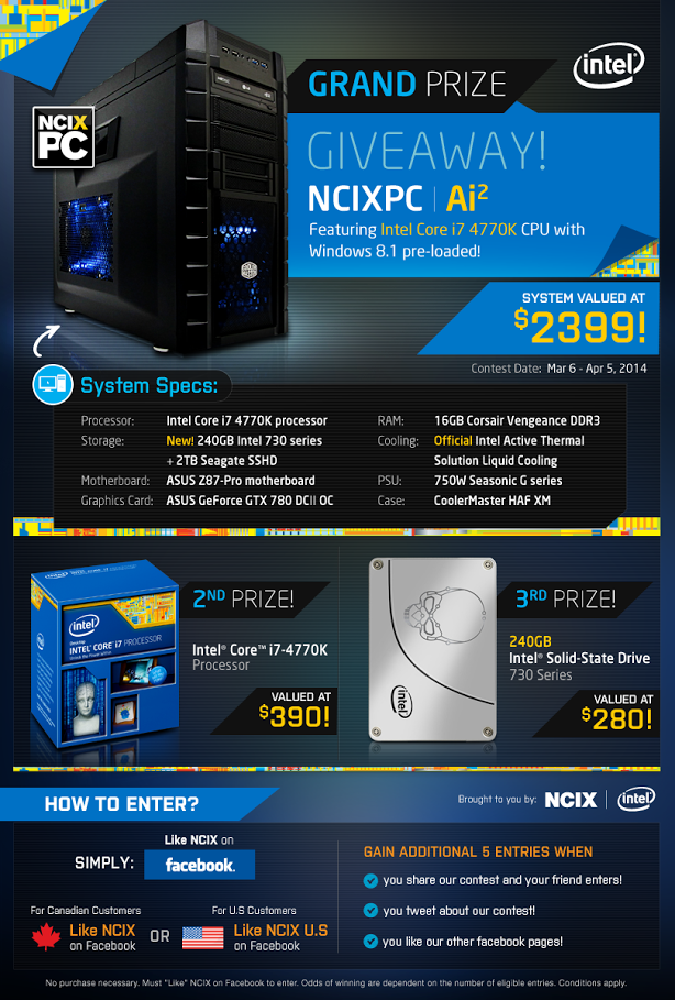 NCIX US – Win A $2,399 Intel Core i7 4770K CPU NCIXPC with Windows 8
