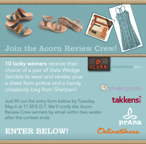 ACORN – Win 1 of 10 Pairs of Vista Wedge Sandals, prAna dress and Sherpani bag