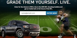 NFL Combine GMC – Win a 3day- trip for 2  to Chicago and 6 first prizes to Indianapolis, Indiana attend the 2015 NFL Combine