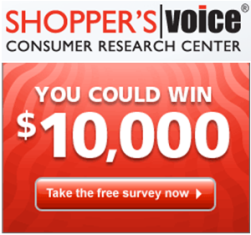 "Shopper's Voice – Win $10,000.00 check or $500.00 Visa or MasterCard gift card from  ""2015 Speak up to Win"""