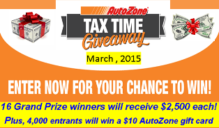 Autozone – Win $2,500 each for 16 winners plus  4,000 more entrants will INSTANTLY win a $10 AutoZone gift card!