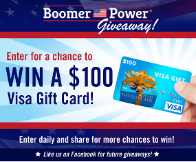 Boomer Power – Win  a $100 Visa Gift Card – Enter DAILY and share with your friends for more chances to win.