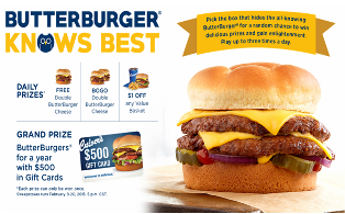 CULVER'S – Win Butter Burgers for a year with $500 in gift card and a tons of DAILY prizes !