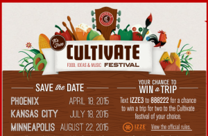 Chipotle – Win a trip for 2 to their choice of one of the following three Cultivate Festivals valued at $3,750!