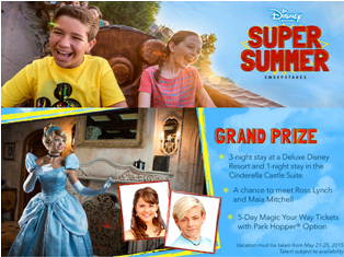 Disney Channel – Win a 5-day trip for 5 to Orlando, Florida to visit Walt Disney World Resort near City PLUS you could meet Disney Channel's Ross Lynch and Maia Mitchell valued at $7,398 by March 16, 2015!