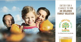 Frorida Orange Juice – Win a 6-day trip fo 4  to Orlando, Florida valued at $5,000 by March 27, 2015 !