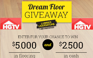 HGTV – Win $5,000 in floor and $2,500 in cash from Dream Floor Giveaway  by Feb, 2015 !