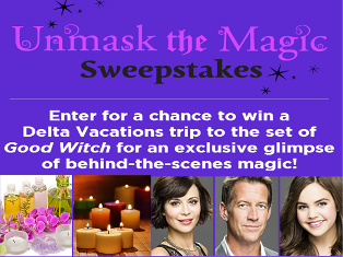 "Hallmark Channel – Win a Delta Vacations  to the set of ""Good Witch"" in Ontario, Canada and more WEEKLY Prizes by April 27, 2015!"