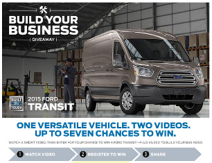Midwest Ford – Win one $35,000 voucher to be applied towards the purchase of a 2015 Ford Transit plus $5,000 in the form of a check on March 31, 2015!