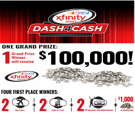 Nascar – Win a $100.000 check or a trip and ticket to the 2015 NASCAR Xfinity Series Race at Darlington Raceway by August 22, 2015!