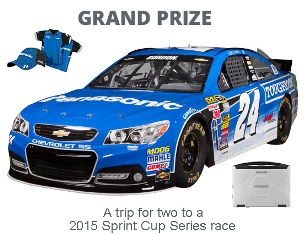 Panasonic – Win a 4-day trip to 2015 Sprint Cup Series Race in  Brooklyn, MI, to see a Sponsor‐specified automobile race on June 14, 2015 and more great prizes !