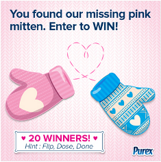 "Purex – Win one of 20 prizes with $50 gift card from "" Find the Valentine's Mittens"" by Feb 27, 2015 !"