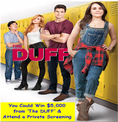 Ryan Seacrest's The DUFF 2015 – Win a $5,000.00 cash gift card  and a private screening of The Duff at a movie theater in the winner's hometown valued at $1,500.00 – TODAY