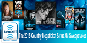 SiriusXM – Win tickets to see ALL of the 2015 live country music concerts at any one particular Megaticket city BY April 3, 2015!!