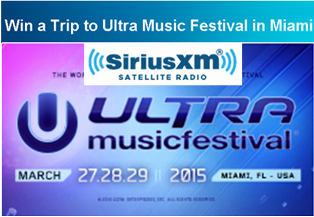 SiriusXM – Win a trip to Ultra Music Festival and the SiriusXM Music Lounge in Miami valued at $4,440
