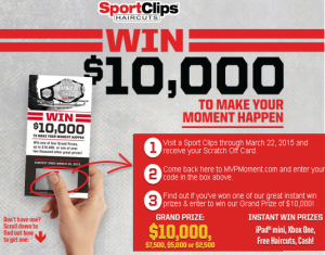 Sport Clips Haircuts – Win a big Cash prizes from $2,500 to $10,000 and a tons of INSTANT Win Prizes until March 30, 2015! INSTANTLY