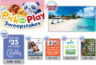 Sprout – Win a Beaches Luxury Included vacation package for two to a Beaches Resort winner's choice  in either Jamaica or Turks & Caicos and a tons of great prizes! WEEKLY