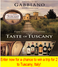 Treasury Wine Estates –  Win a trip for 2 to Tuscany, Italy valued at $7,570! NOW