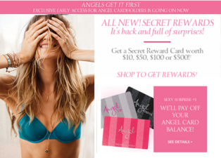 Victoria's Secret  – Win a Sexy Surprise Package Reward Card worth $10, $50, $100 or $500 – INSTANT Win Game !