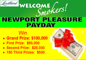 Lorillard Tobacco – Win $100,000 cash and more  than 150 other GREAT prizes by June 30, 2015 – INSTANTLY!
