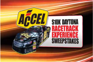 Accel – Win a $10,000 shopping spree with your choice of ACCEL, Mr. Gasket, Lakewood, Hays, and Quick Time parts plus a VIP Daytona  trip for 2 by September 8, 2015!