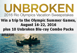 Amazon – Win a trip to Rio de Janeiro, Brazil to attend the Olympic Summer Games plus an Unbroken Blu-ray Combo Pack!