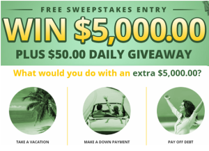 American Prize Center – Win a Grand Prize is $5,000 cash or daily prizes are $50 cash – DAILY!