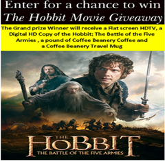 """Coffee Beanery – Win one 32"""" Flat screen HDTV,  one Digital Copy of The Hobbit,  one pound of Beanery Coffee and Travel Mug by March 24, 2015-DAILY!"""