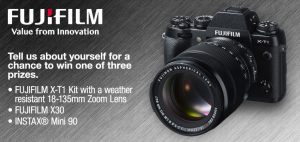 FUJIFILM – Win a FUJIFILM X-T1 kit with weather resistant 18-135mm Zoom Lens valued at $2,339 and more gifts!