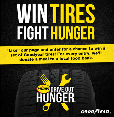 Midas – Win a set of Goodyear tires plus installation and alignment services up to $1,800 by March 31, 2015!