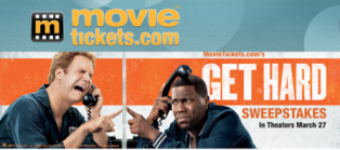 "Movie Ticket – Win 1 of 10 pack prizes from "" Get Hard' valued at $145 each!"