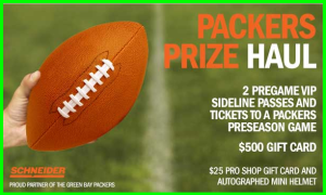 NFL Packers – Win a trip to Lambeau Field to see the Green Bay Packers play plus $500 gift card and gift!