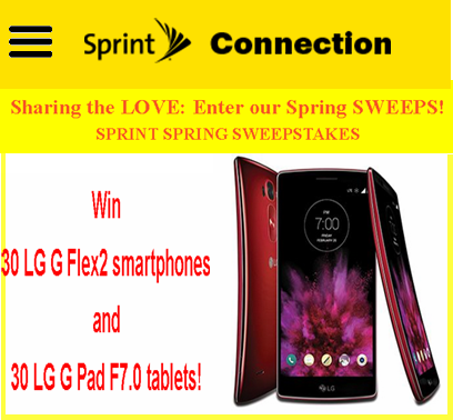 Sprint – Win 30 LG G Flex2 smartphones and 30 LG G Pad F7.0 tablets by April 11, 2015 – WEEKLY!
