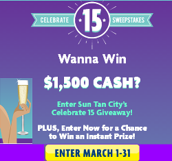 Sun Tan City – Win $1,500 cash or other great INSTANT prizes by March 31, 2015 – INSTANTLY!