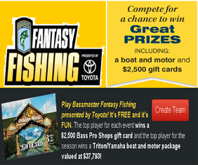 Bassmaster – Win a $2,500 Bass Pro Shops gift card plus a Yamaha boat and motor package valued at $37,793 by Sep 17, 2015!