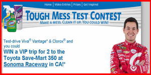 Kimberly Clark – Win a $9,670 trip for 2 to the Toyota Save – Mart 350 at Sonoma Raceway in California by May 16, 2015