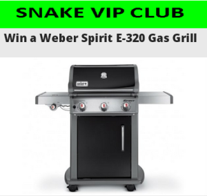 the snake win a weber spirit e 320 propane gas grill by. Black Bedroom Furniture Sets. Home Design Ideas