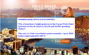 Accor Hotels – Win a $8,480 trip for 2 to Rio de Janeiro, Brazil and more prizes by June 15, 2015!