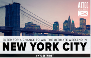 Altec Lansing – Win a $3,000 ultimate trip in New York City by June 1, 2015!