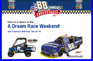 Amourpitstop – Win a dream Race Weekend plus a Bad Boy Recoil valued at $17,200 and $8,712 in prizes by October 31, 2015 – MONTHLY!