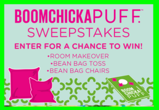 Angie's Boomchickapop – Win One Pufferize Your Room makeover valued at $7,500 and beanbags by October 15, 2015!