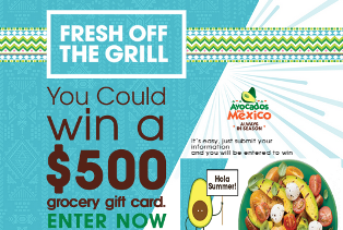 Avocados From Mexico – Win 1 of 115 $500 Grocery gift cards by July 5, 2015 – DAILY!