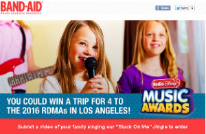 Band Aid – Win a $10,715 trip for 4 to the 2016 Radio Disney Music Awards in Los Angeles OR a trip for 2 to New York, NY an more prizes by June 27, 2015!