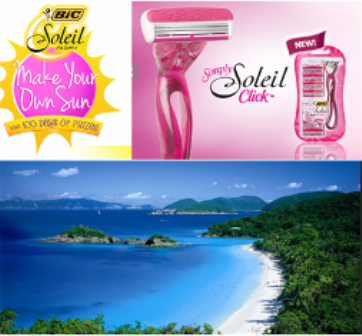 Bic Soleil – A $10,290 trip for 2 to US Virgin Islands and more great prizes by August 8, 2015 – DAILY !