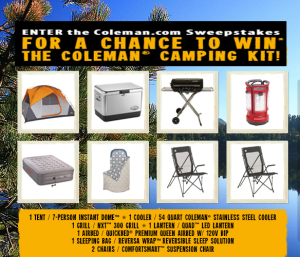 COLEMAN – Win a Coleman Camping Kit Pack valued at $1,019 by June 11, 2015