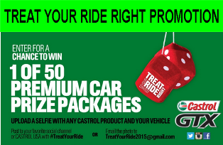 Castrol – Win 1 of 50 premium car prize packages valued at $1,500 by July 1, 2015!