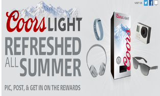 Coors Light – Win 1 of 92 Refresherator daily and 1 of  65 Headphones, 65 Activity and Sleep , 65 Tracker, 65 Digital Camera , and 65 Sunglasses Gift Card weekly by July 31, 2015 !