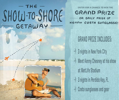Costa Sunglasses – Win a $7,500 trip for 2 to Perdido Key, FL and more prizes by July 13, 2015!